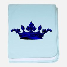 Crown Blue Black baby blanket