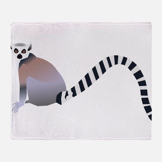 Cartoon Ring-Tail Lemur Throw Blanket