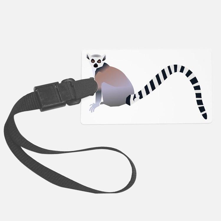 Cartoon Ring-Tail Lemur Luggage Tag