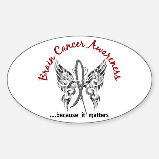 Brain Cancer Butterfly 6.1 Sticker (Oval)