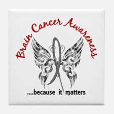 Brain Cancer Butterfly 6.1 Tile Coaster