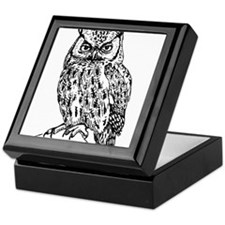 Black and White Owl Sketch Keepsake Box