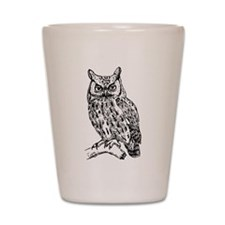 Black and White Owl Sketch Shot Glass