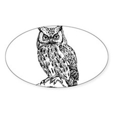 Black and White Owl Sketch Decal