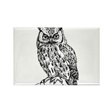 Black and White Owl Sketch Magnets