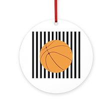 Basketball on Referee Stripes Ornament (Round)