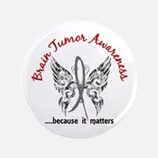 "Brain Tumor Butterfly 6.1 3.5"" Button"