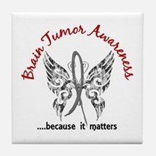 Brain Tumor Butterfly 6.1 Tile Coaster