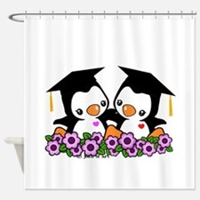 Graduation Penguins Shower Curtain