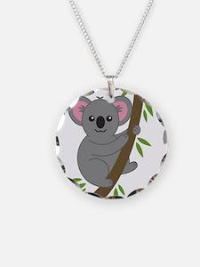 Cartoon Koala in a Tree Necklace