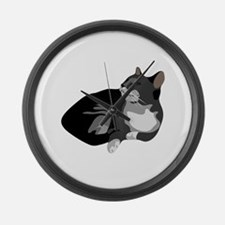 Grey and White Cat Large Wall Clock