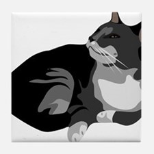 Grey and White Cat Tile Coaster