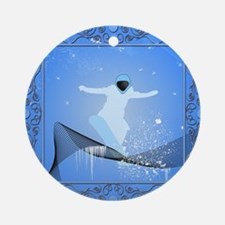 Snowboarder with snowflakes Ornament (Round)