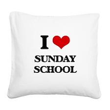 I love Sunday School Square Canvas Pillow