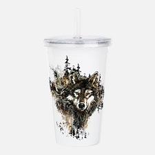 Watercolor Wolf Mountain Art Acrylic Double-wall T