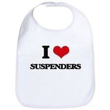 I Love Suspenders Bib
