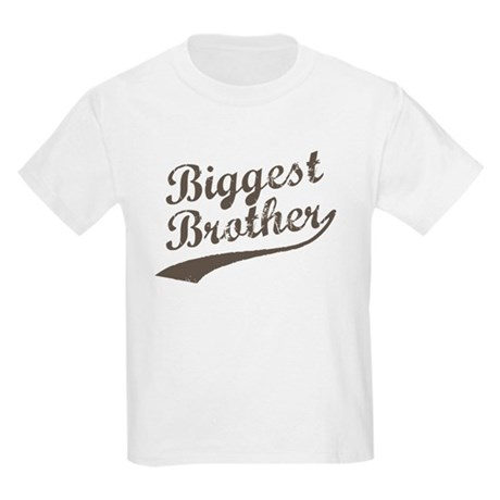 Biggest Brother (Brown Text) Kids Light T-Shirt