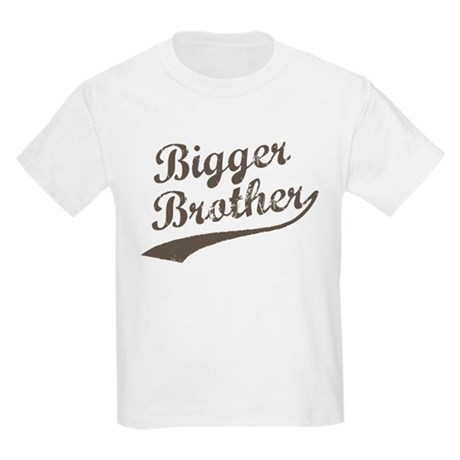 Bigger Brother (Brown Text) Kids Light T-Shirt
