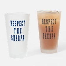 Respect the Sherpa Blue Drinking Glass