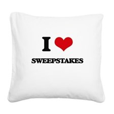 I love Sweepstakes Square Canvas Pillow
