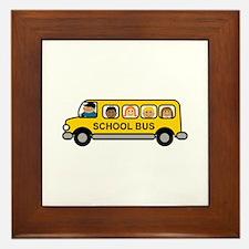 School Bus Kids Framed Tile