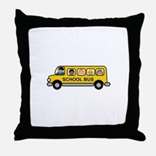 School Bus Kids Throw Pillow