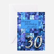 30th Birthday card for a brother,with abstract squ