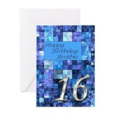16th Birthday card for a brother,with abstract squ