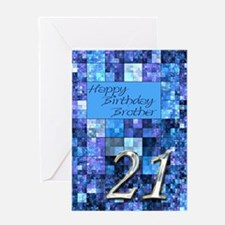 21st Birthday card for a brother,with abstract squ
