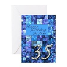 35th Birthday card for a brother,with abstract squ