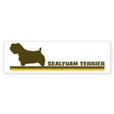 Sealyham Terrier (retro-blue) Bumper Car Sticker
