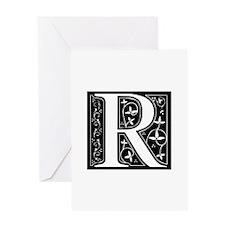R-fle black Greeting Cards