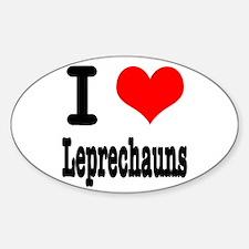 I Heart (Love) Leprechauns Oval Decal