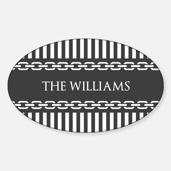 Gray and White Stripes Personalized Sticker (Oval)
