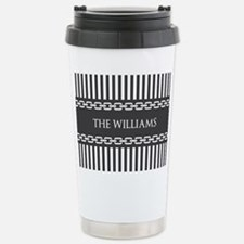 Gray and White Stripes Stainless Steel Travel Mug