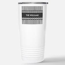 Gray and White Stripes Travel Mug
