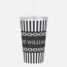 Gray and White Stripes Acrylic Double-wall Tumbler