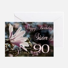 90th Birthday card for sister with magnolia Greeti