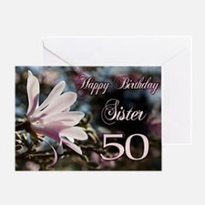 50th Birthday card for sister with magnolia Greeti