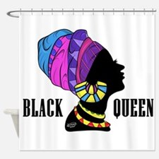 Black African Queen Shower Curtain