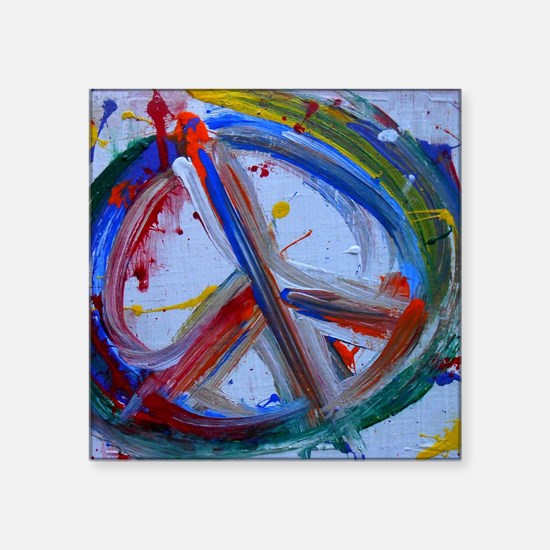 """abstract peace Square Sticker 3"""" x 3"""""""