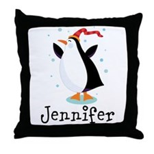 Personalized Penguin Childrens Throw Pillow