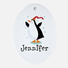 Personalized Penguin Childrens Ornament (Oval)