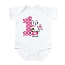 Valentine Bunny 1st Birthday Infant Bodysuit