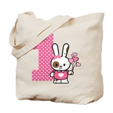 Valentine Bunny 1st Birthday Tote Bag