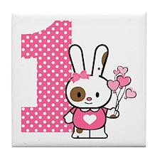 Valentine Bunny 1st Birthday Tile Coaster