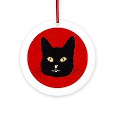 Black Cat Face Ornament (Round)