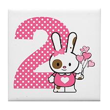 Valentine Bunny 2nd Birthday Tile Coaster