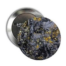 """Obsidian and Lichen 2.25"""" Button"""