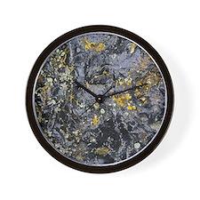 Obsidian and Lichen Wall Clock